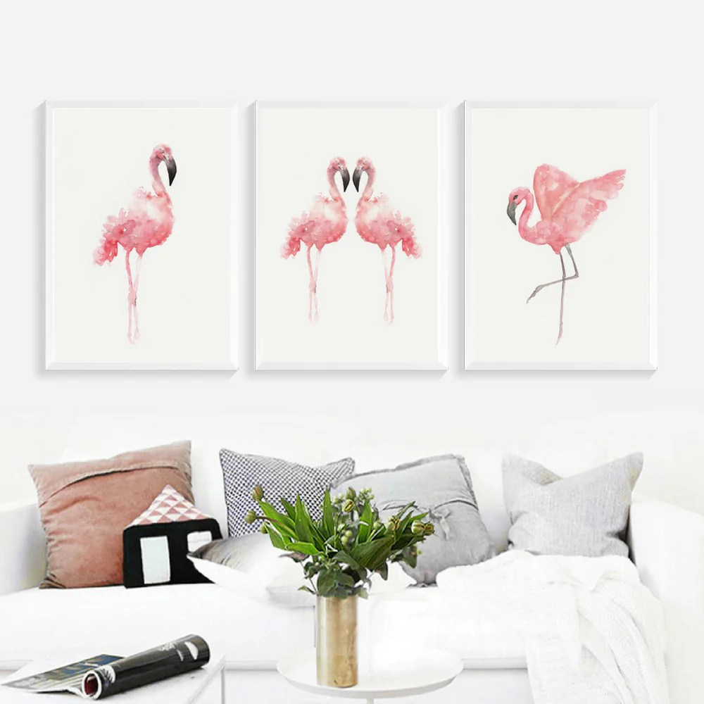 Décoration D'intérieur Flamant 20 Lot De 3 Posters Toiles Flamants Roses