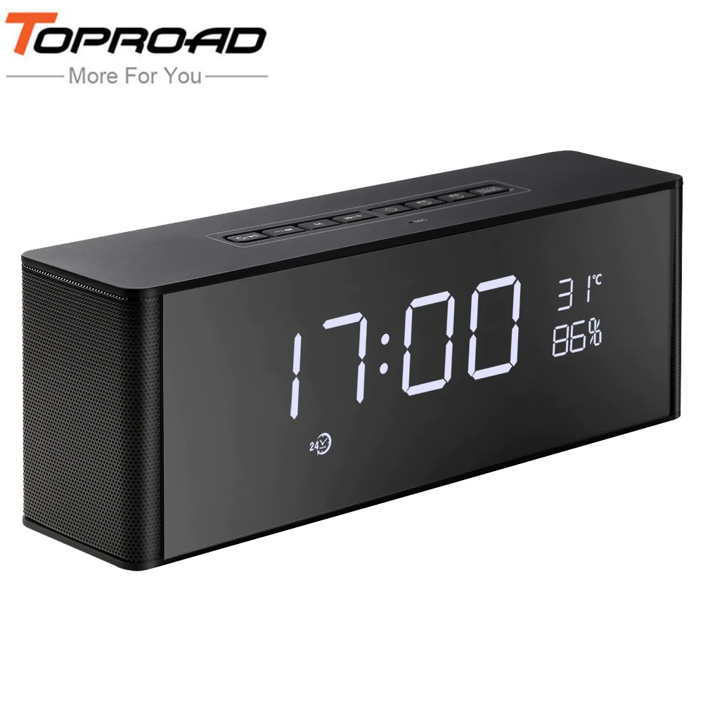 Hifi Bluetooth Toproad Portable Hifi Bluetooth Speaker Wireless Stereo Deep Bass Alarm Clock Speakers Support Handsfree Mic Tf Fm Led Display