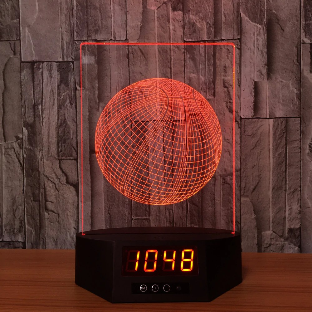 Digital Clock 3d Digital Clock Basketball Lamp