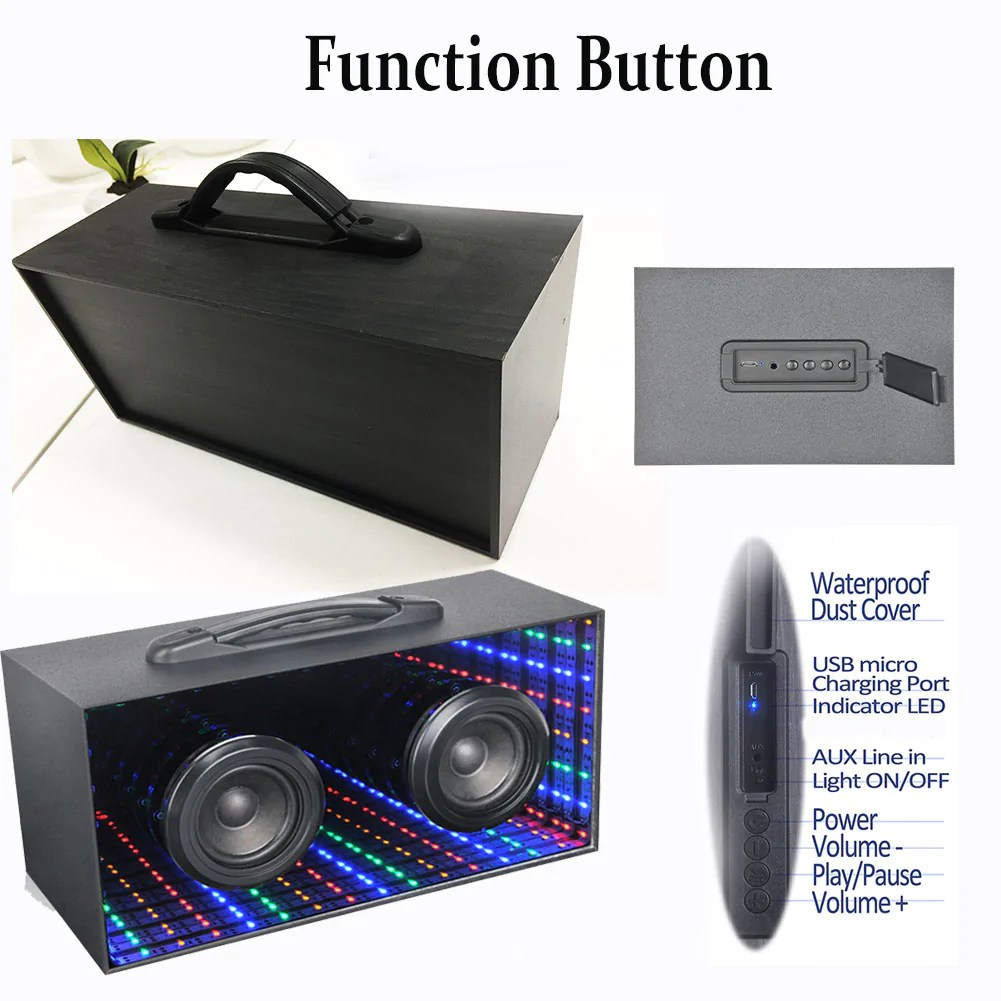 Box Bluetooth Bluetooth Water Dancing Speakers Wireless Speaker With Led Colorful Light Support Tf Card