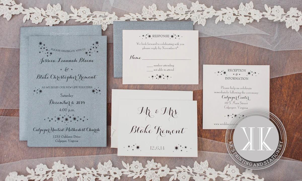 Metallic Gray Metallic Coral Star Wedding Invitation