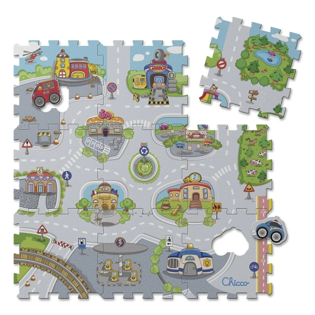Tappeto Puzzle Baby Smile Chicco 7163000000 Puzzle Mat City 9 Pieces