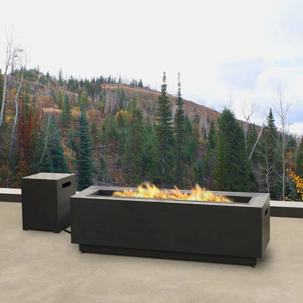 Propane Fireplace Installation Lanesboro Rectangle Propane Fire Table In Gray With Ng Conversion