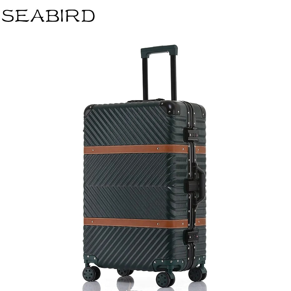 Koffer Vintage Seabird Vintage Travel Suitcase Rolling Luggage Leather Decoration Koffer Trolley Tsa Lock
