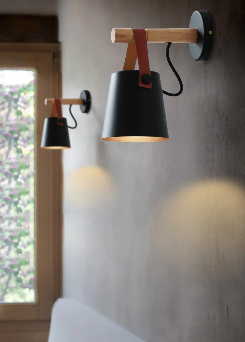 Lamp Hout Lighting -nordic Style Iron , Wood & Leather Sconces