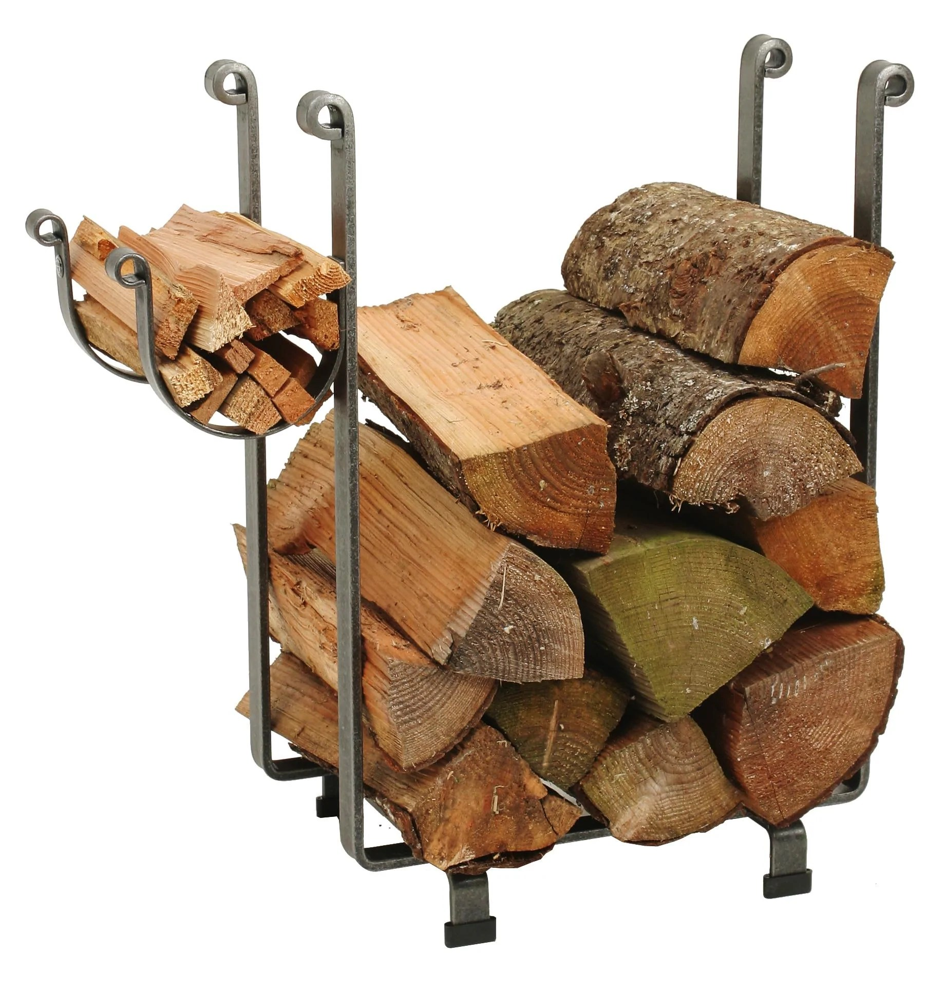 Outdoor Firewood Rack Indoor Outdoor Rectangle Fireplace Log Rack Hammered Steel