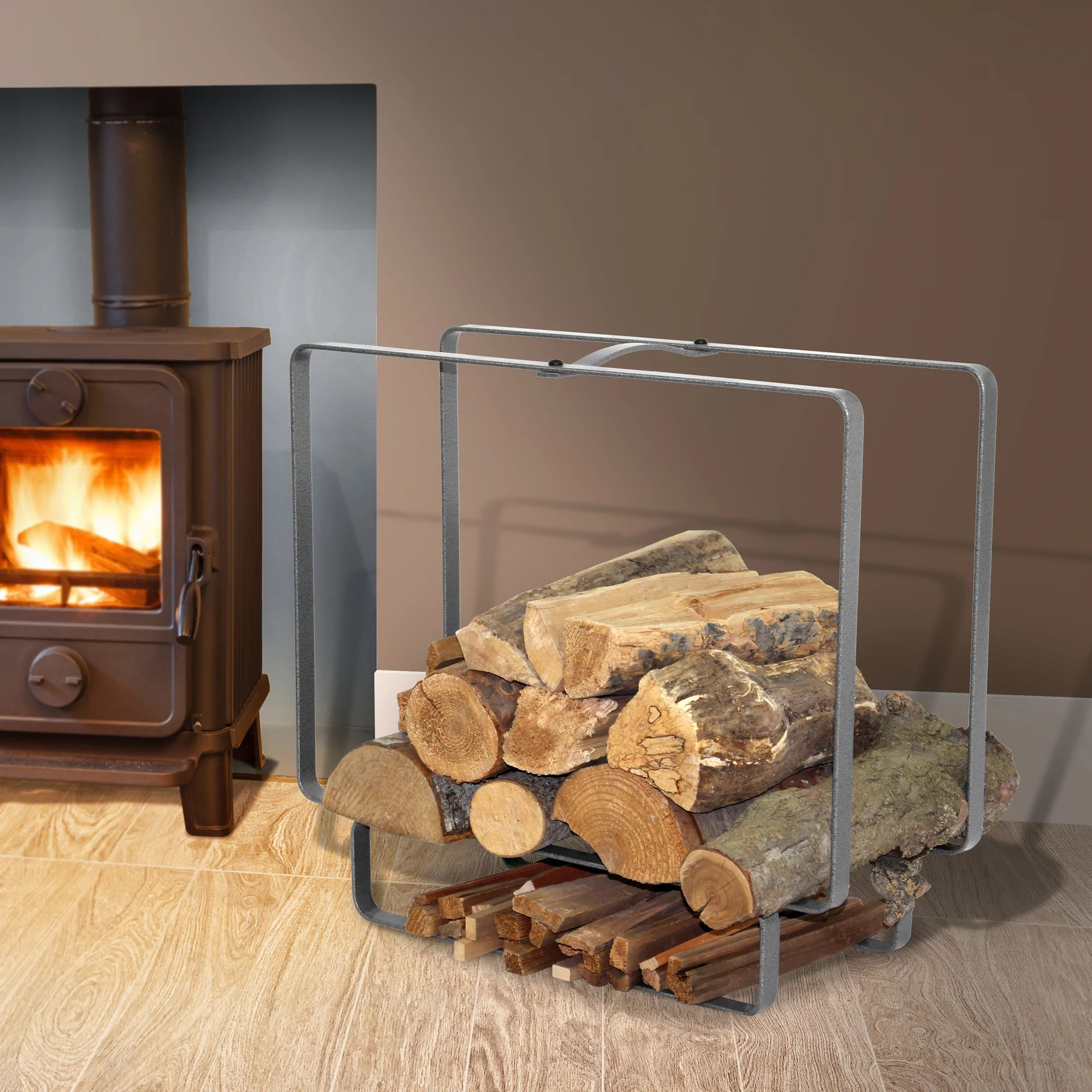 Outdoor Firewood Rack Indoor Outdoor Medium Rectangular Fireplace Log Rack