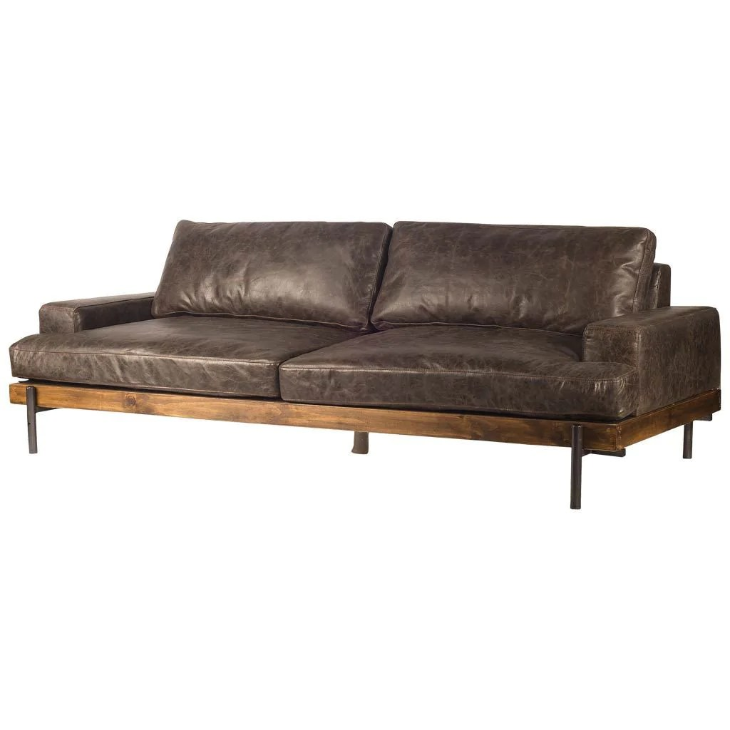 Retro Sofa Leather Retro Mid Century Modern Brown Leather Sofa Couch Iron Solid Hardwood 95