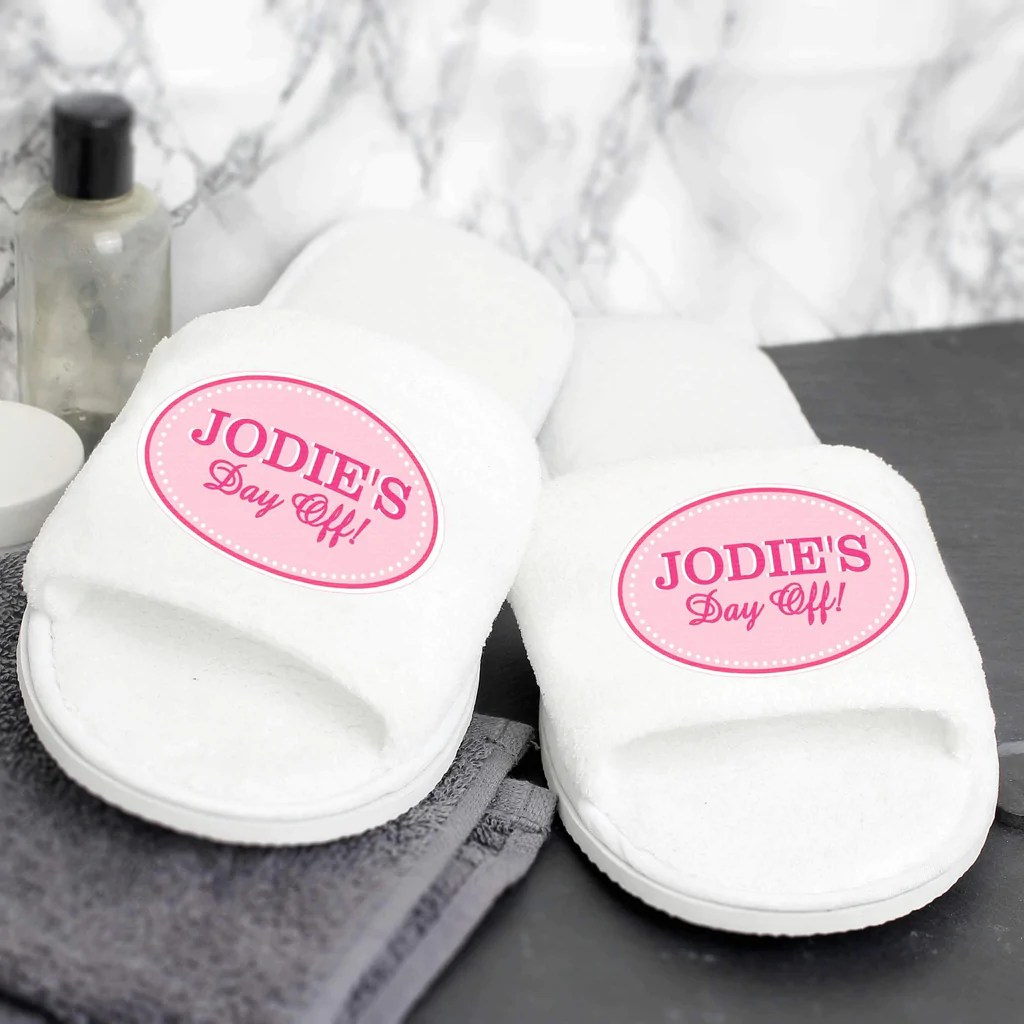 Baby Hotel Slippers Personalised Pink Oval Velour Slippers