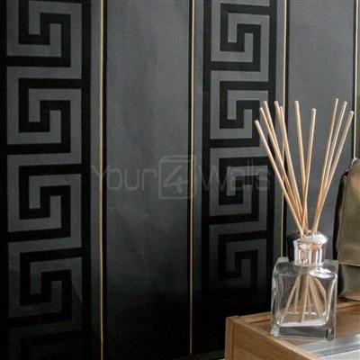 Black Brick Wallpaper Versace Greek Key Stripe Wallpaper Black Amp Gold Your 4