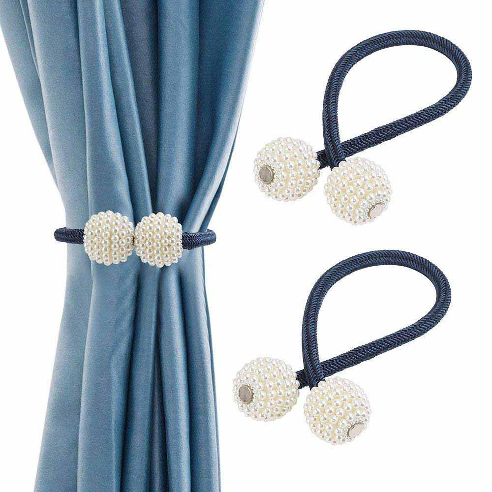 Unique Curtain Tie Backs Hirundo Pearl Curtain Tiebacks With Strong Magnetic Clips 2 Pcs