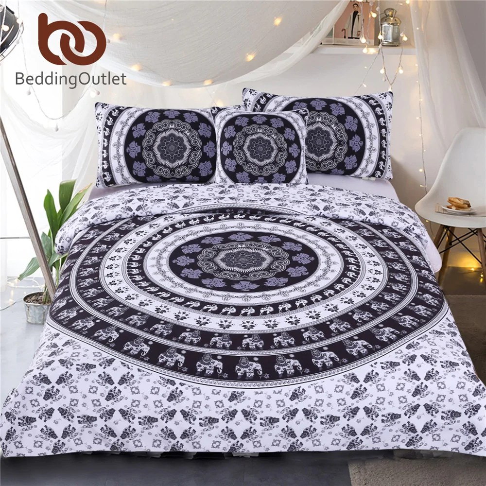 Modern Duvet Dropshipful Vanitas Bedding Set Queen Size Bohemia Modern Duvet Cover Set Indian Black And White Printed Quilt Cover 4pcs Hot