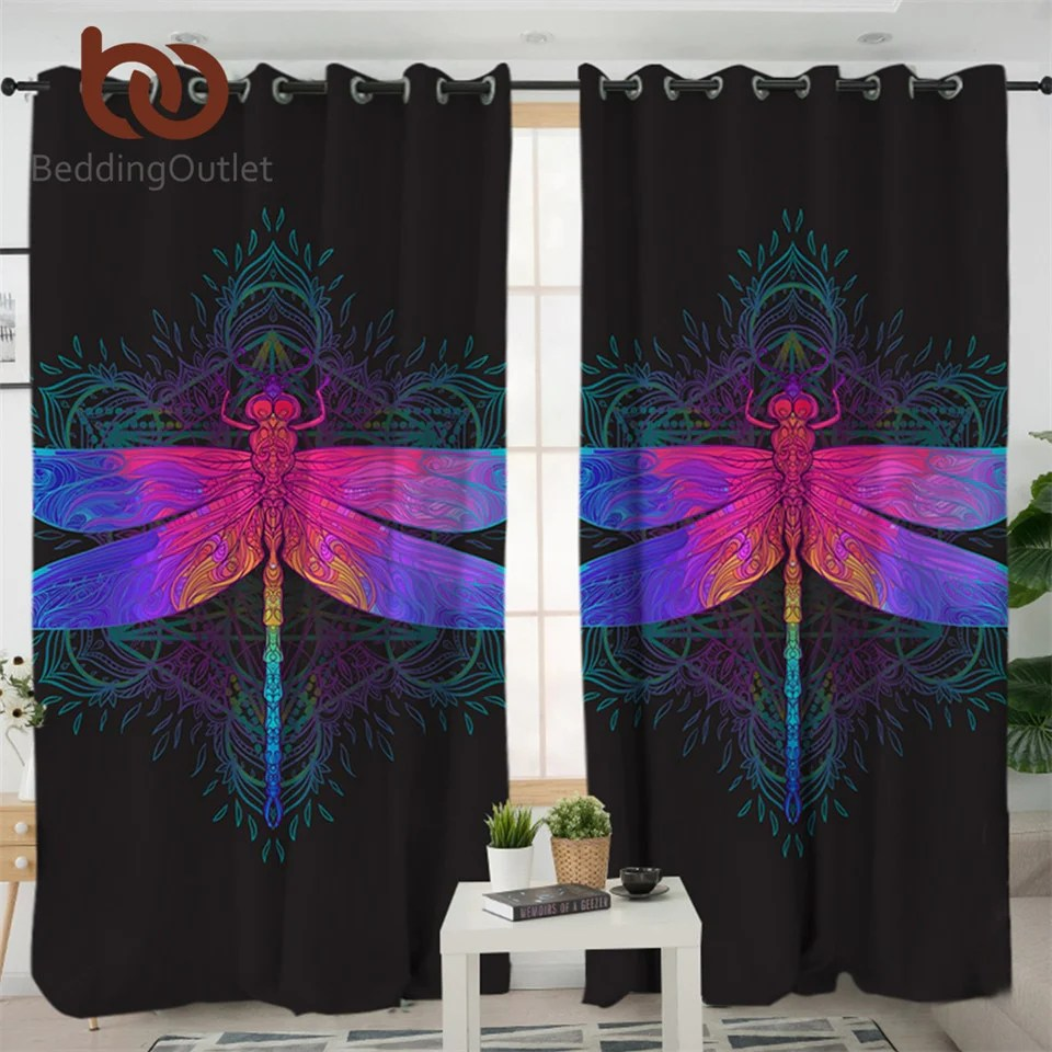 Pink Living Room Curtains Dropshipful Dragonfly Mandala Living Room Curtains Colorful Curtain For Bedroom Purple Pink Insect Window Treatment Drapes