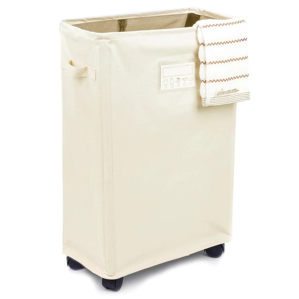 Cute Laundry Hamper Rolling Laundry Cart Waterproof Laundry Hamper Detachable With Card Pocket White