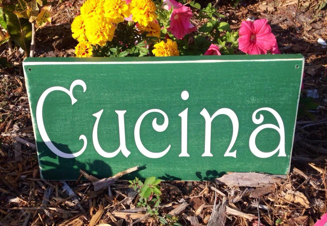 Cucina Kitchen Sign 14x8 Cucina Wood Spanish Kitchen Sign