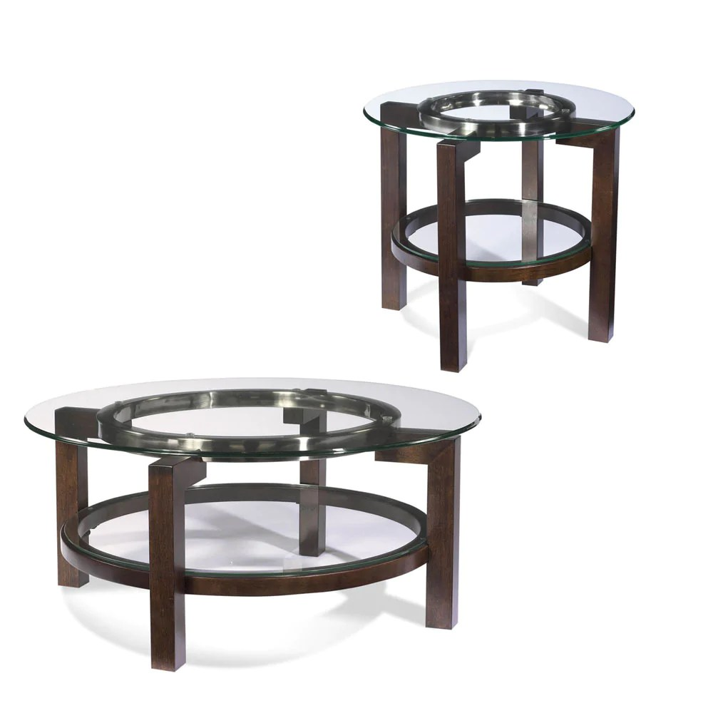 Round Glass Top Coffee Table Bassett T1705 Oslo Round 2 Piece Glass Top Coffee Table Set