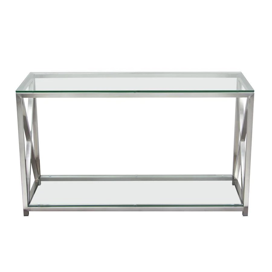 Glass Top Console Table Diamond Sofa X Factor Console Table W Clear Glass Top Shelf W Brushed Stainless Steel Frame