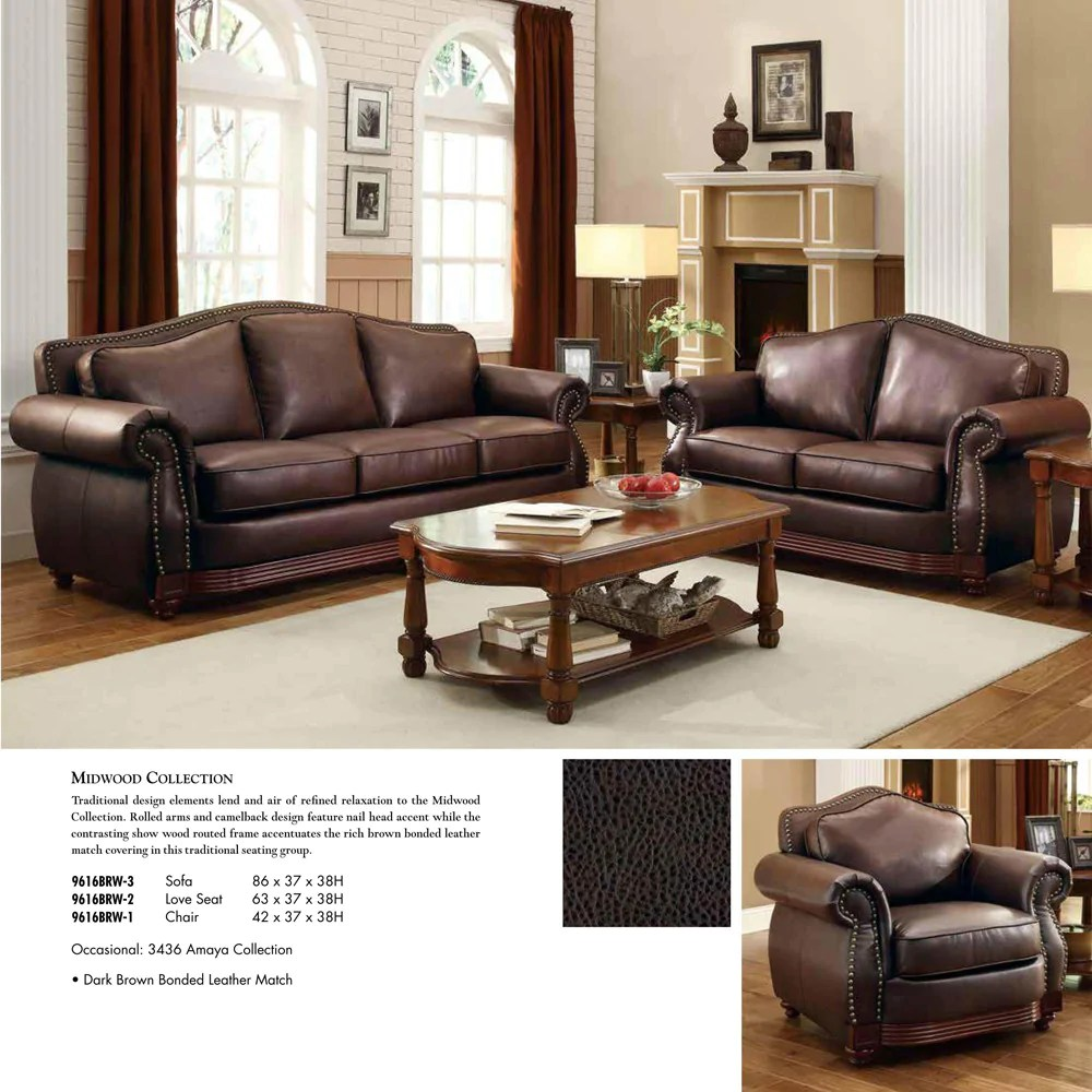 Accent Chairs To Go With Brown Leather Sofa Homelegance Midwood 3 Piece Living Room Set In Dark Brown Leather