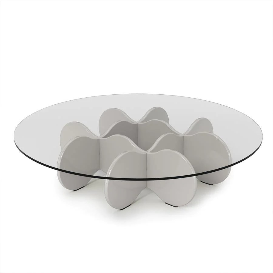 Round Glass Top Coffee Table Manhattan Comfort Waverly 28