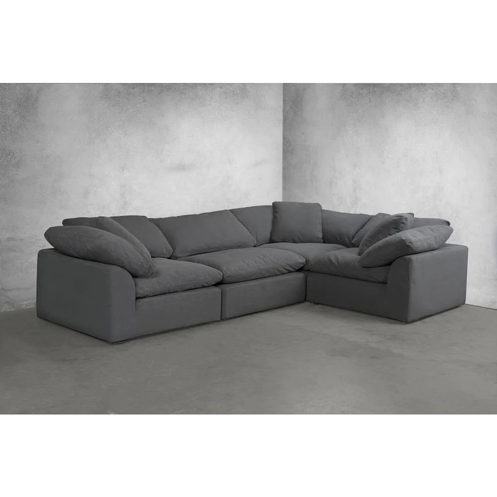 L Sofa Sunset Trading Cloud Puff 4 Piece Slipcovered Modular L Shaped Sectional Sofa Performance Gray