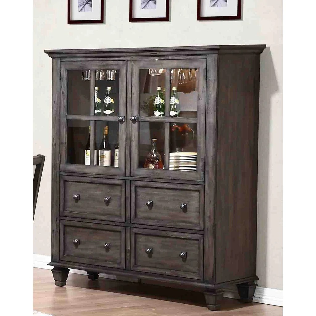 Shads Of Gray Sunset Trading Shades Of Gray One Piece China Cabinet
