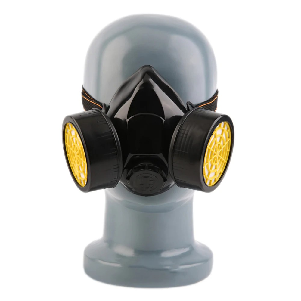 Respiratory Mask Black Emergency Survival And Safety Gas Mask Anti Dust Paint Respirator With 2 Dual Protection Filter