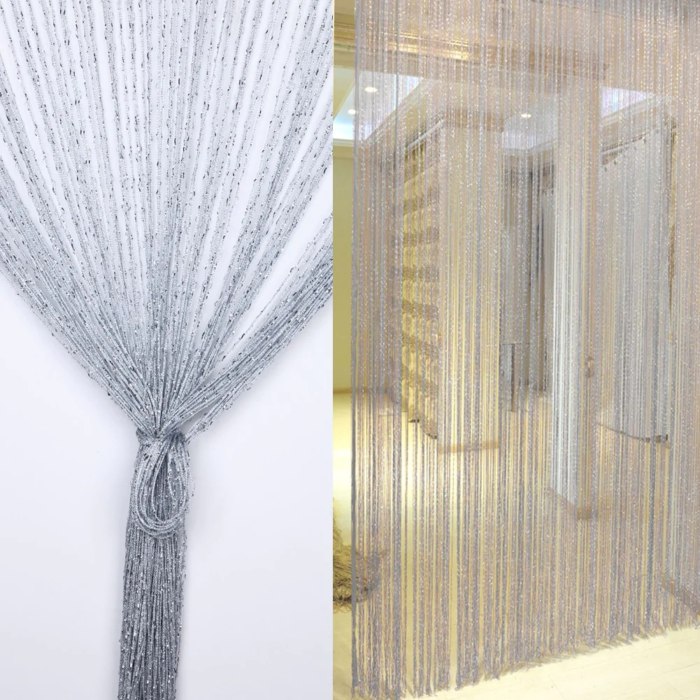 Gordijn Deur 1x2 M Zilver String Gordijn Deur Window Tassel Gordijn Volant Scheidingswand Bruiloft Diy Home Decor