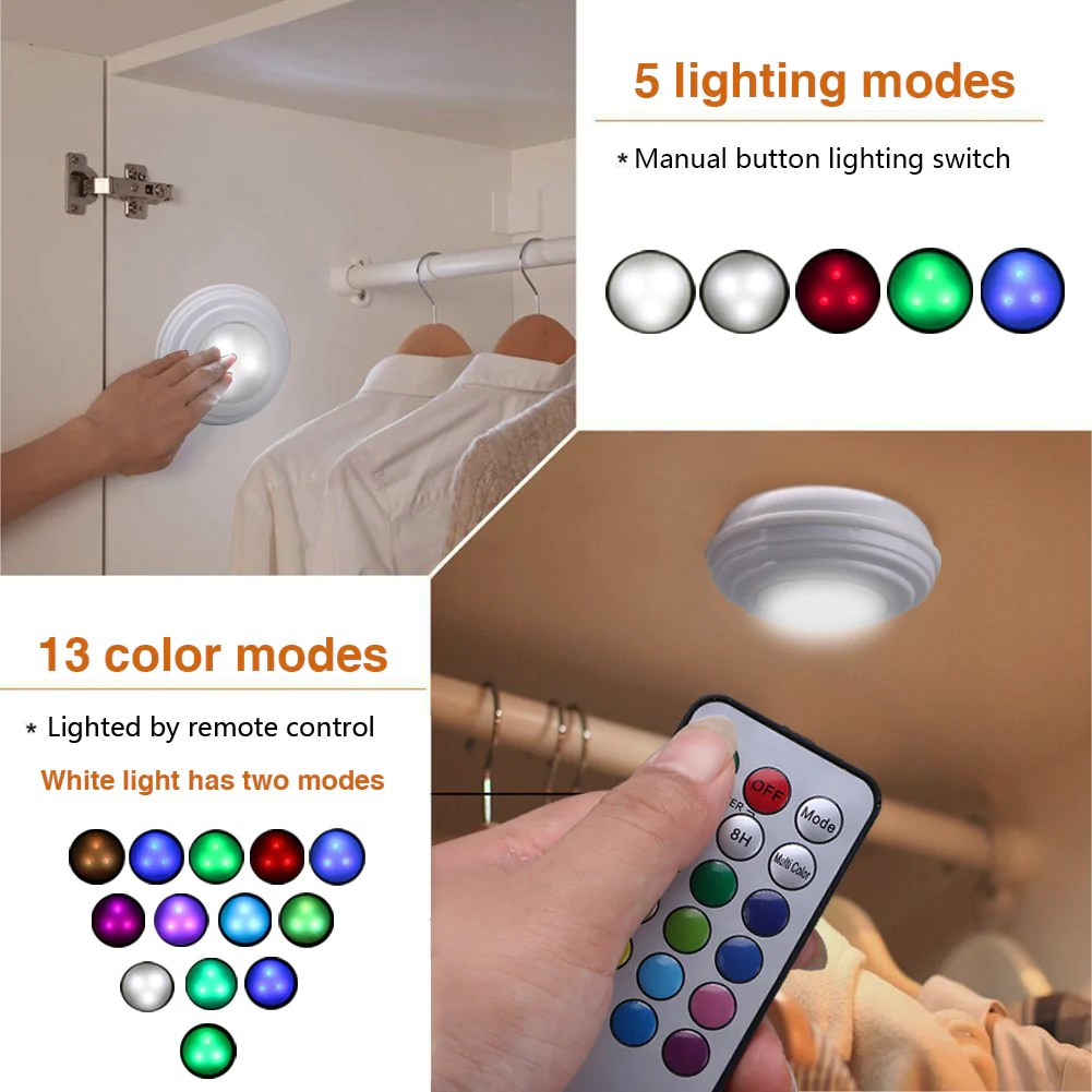 Keuken Lamp Op Batterij 5 Packs Rgb Led Nachtlampje Met Afstandsbediening Batterij Operated Closet Licht Voor Keuken Led Light Cordless Muur Night Lamp