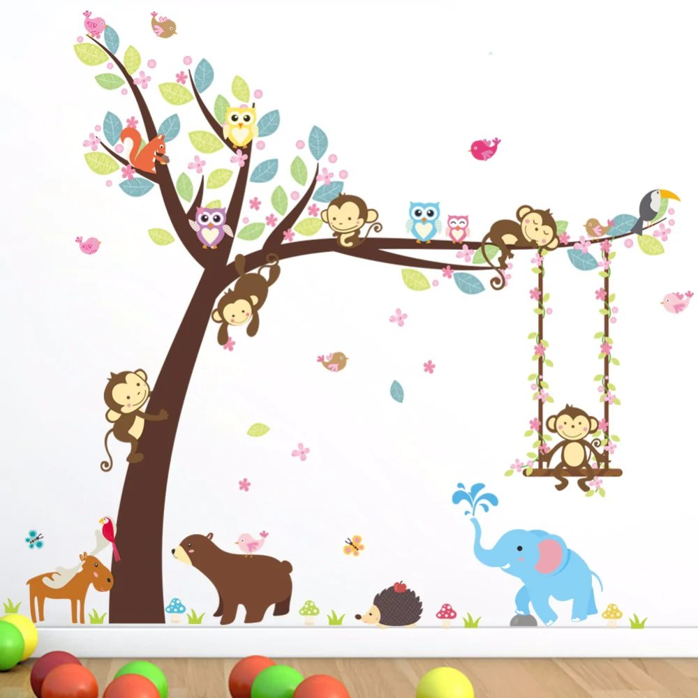 Muurstickers Dieren Muurstickers Dieren In De Jungle Kinderkamer