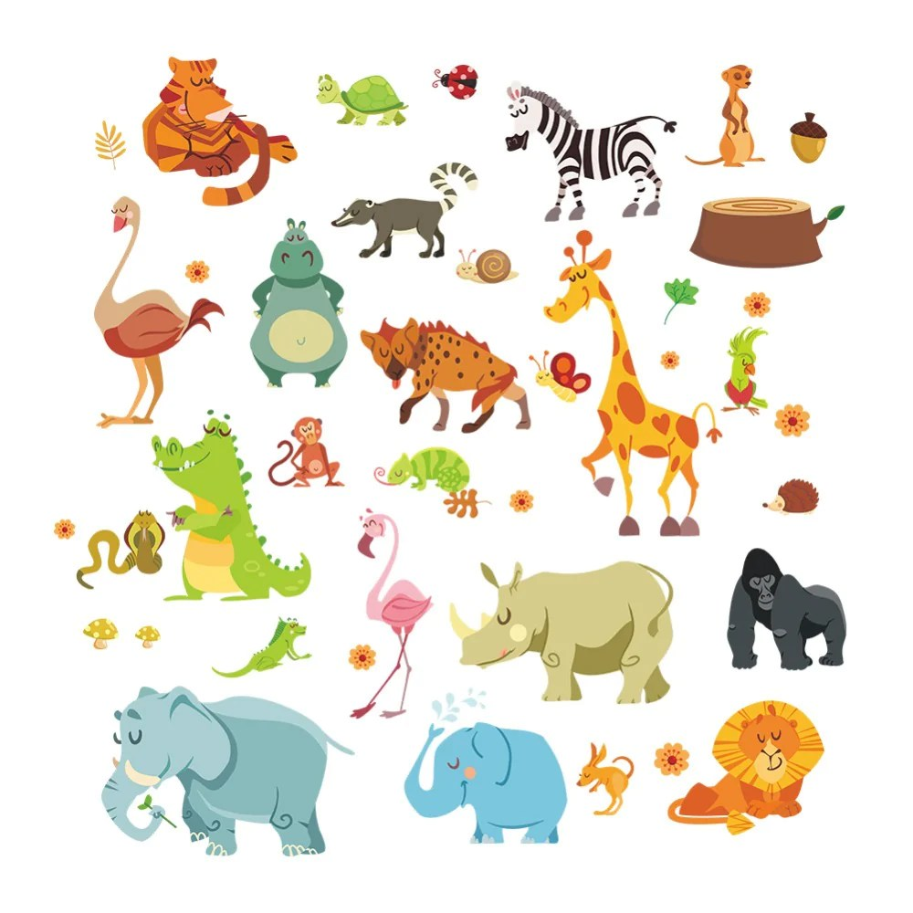 Muurstickers Dieren Jungle Wilde Dieren Diywall Sticker Voor Kids Baby Kinderkamer Cartoon Muurstickers Woondecoratie 1228 Funiture Decoratie