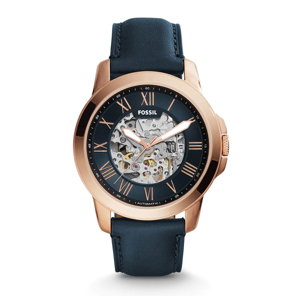 Cluse Herrenuhr Fossil Grant Skeleton Automatic Rose Gold Stainless Steel Me3102 Blue Leather Strap Men S Watch