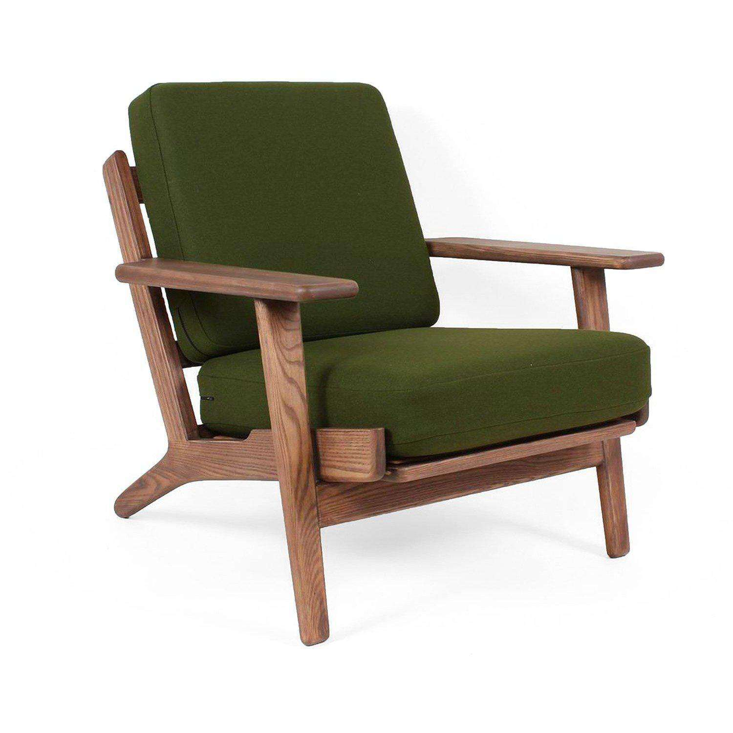 Hans Wegner Sofa Replica Mid Century Modern Reproduction Ge 290 Plank Chair Green