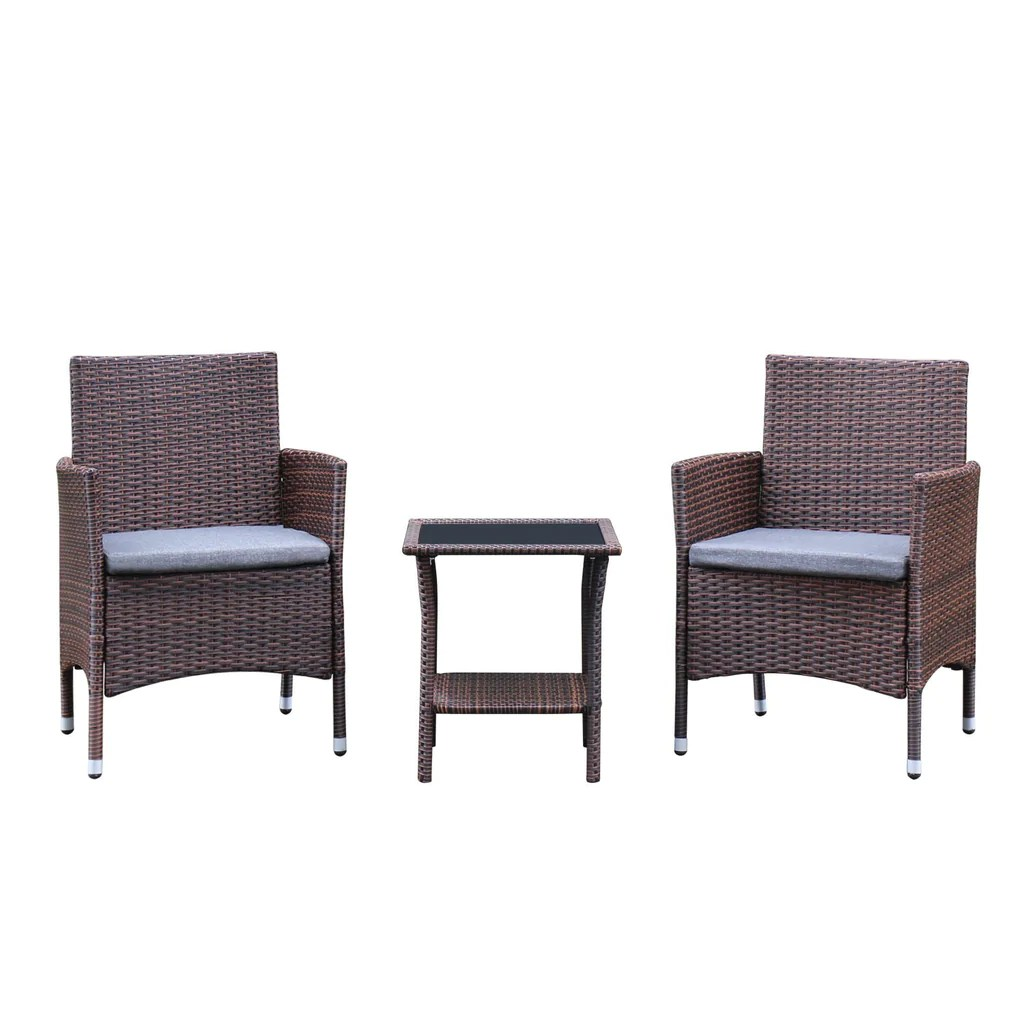 Sofa Rattan Azure Sky Rattan Outdoor Patio Furniture Set Garden Lawn Sofa Wicker Sofa Glass Top Table 2 Chairs Brown