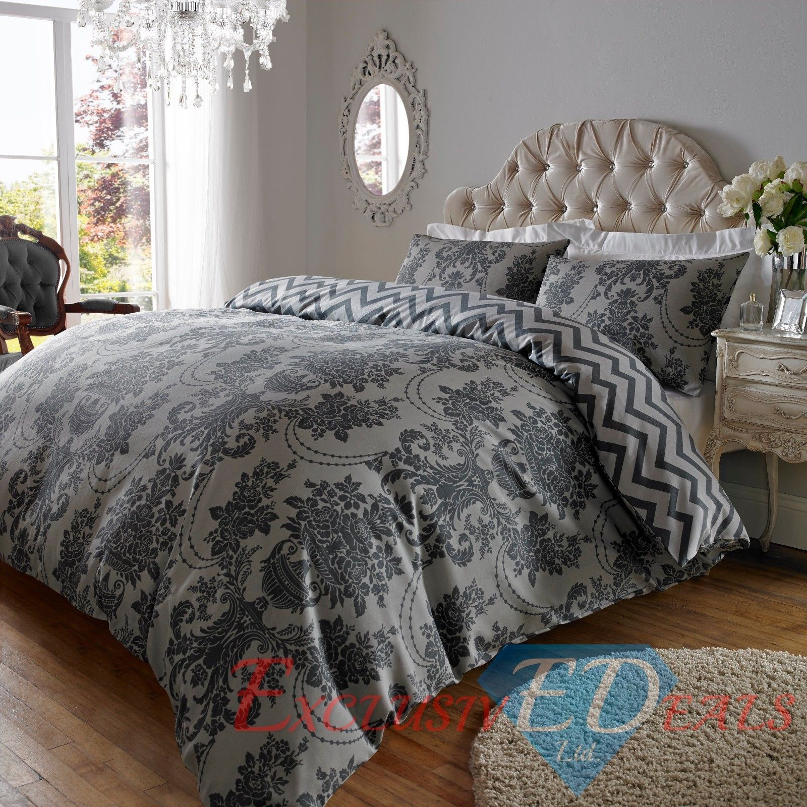 Damask Duvet Damask Duvet Cover Grey Black