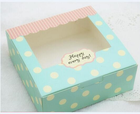 Aliceblue Dots Paper Cake Box With Window20pcs Lot 215