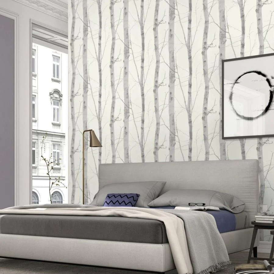 Wallpapers For A Bedroom Paradisio White Grey Birch Tree Wallpaper