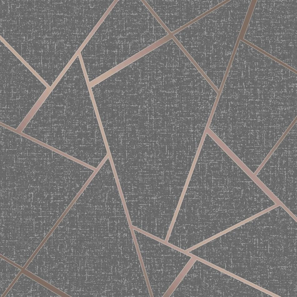 Purple And Black Damask Wallpaper Quartz Charcoal Rose Gold Geometric Wallpaper By Fine