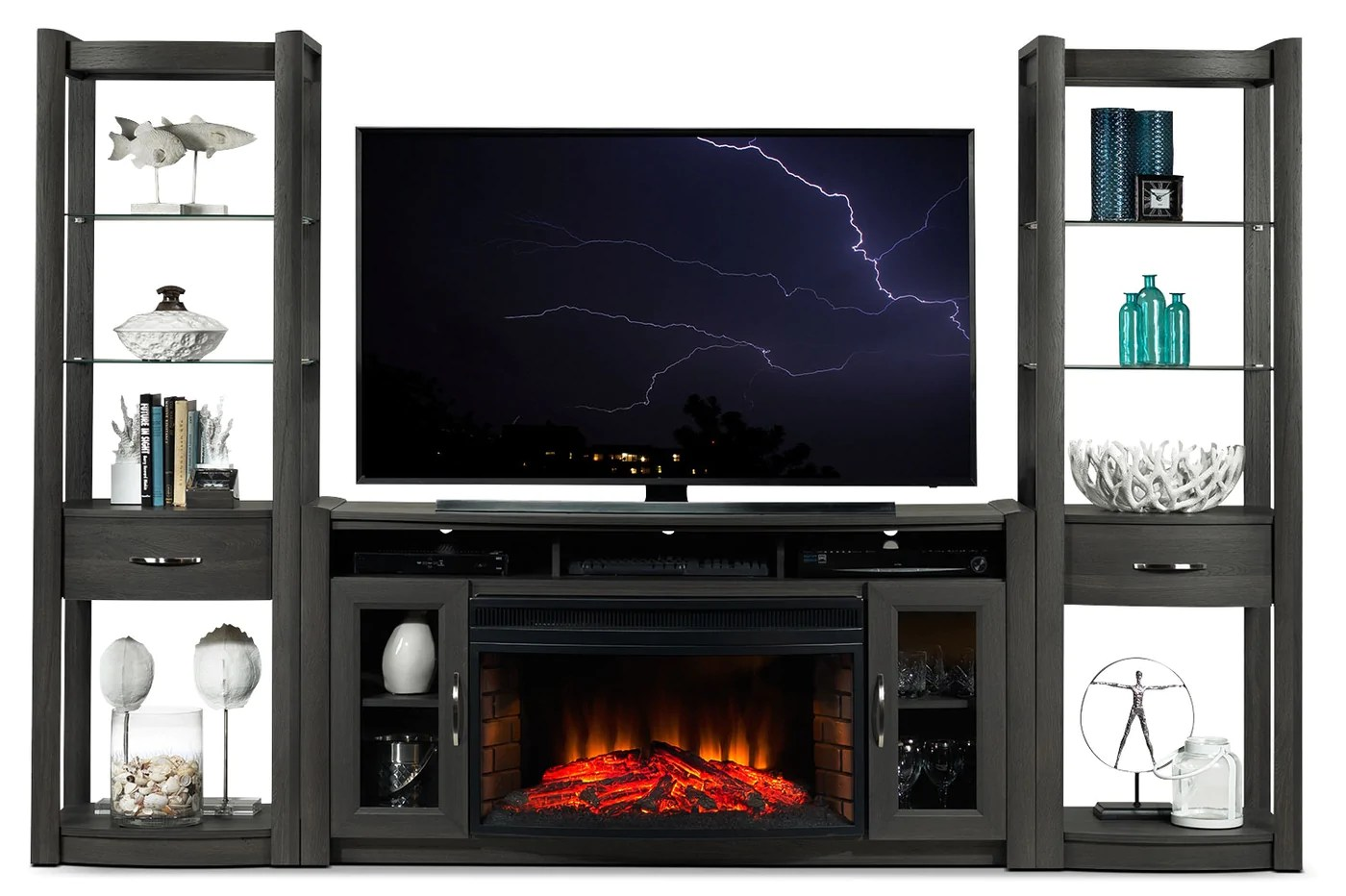 Fireplace Wall Units Gallagher 4 Piece Fireplace Entertainment Wall Unit Grey