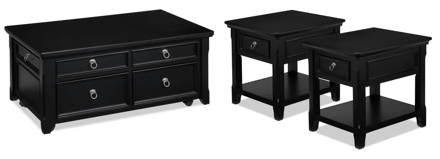 Black End Tables With Drawer Turner Coffee Table And Two End Tables Black