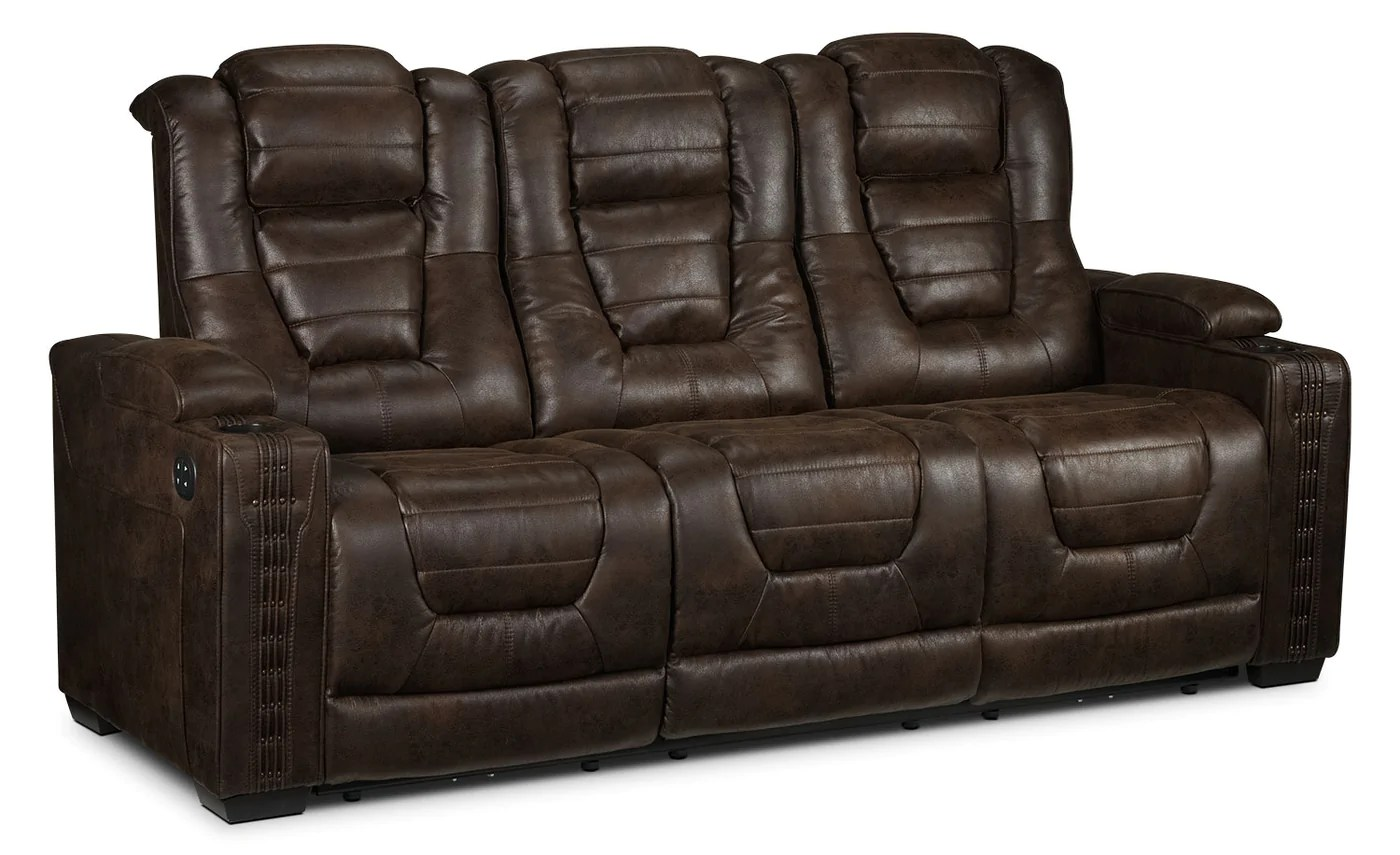 Brick Meubles Divan Lit Dakota Power Reclining Sofa Walnut
