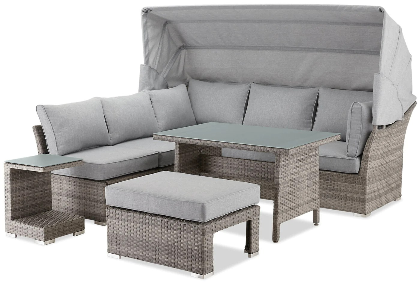 Bermuda 6 Piece Modular Sectional Package With Sunshade The Brick