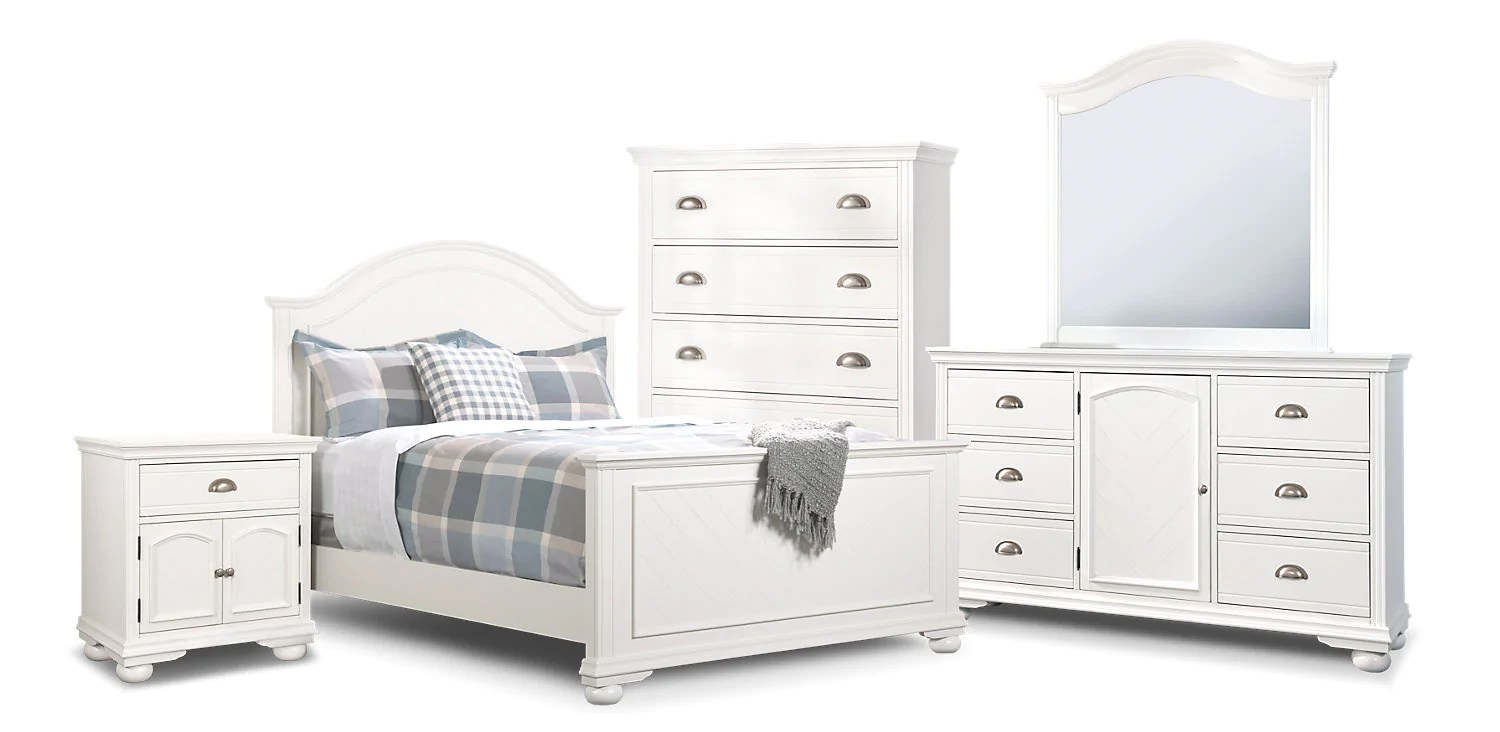 Meuble Aubaine Set De Chambre Brooke 7 Piece Full Bedroom Package White