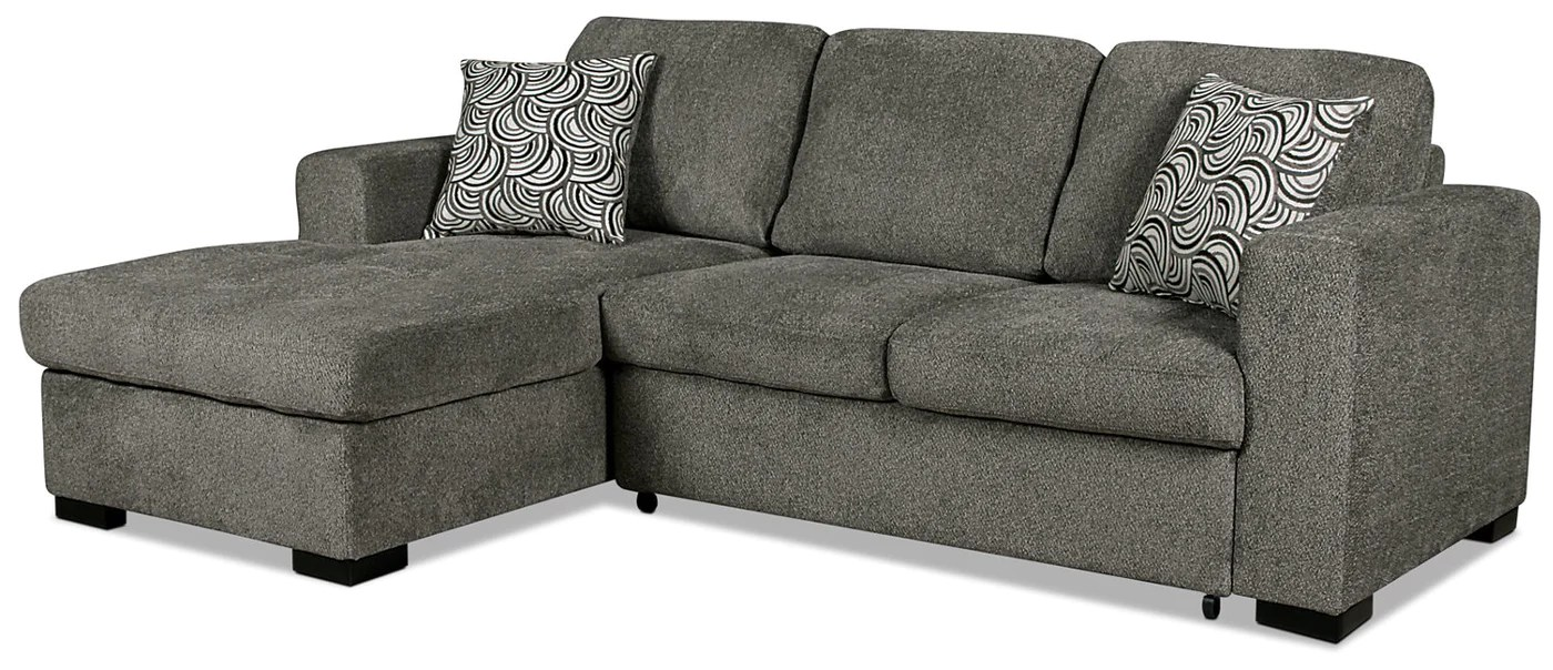 Izzy 2 Piece Chenille Left Facing Sleeper Sectional With Storage Ch The Brick