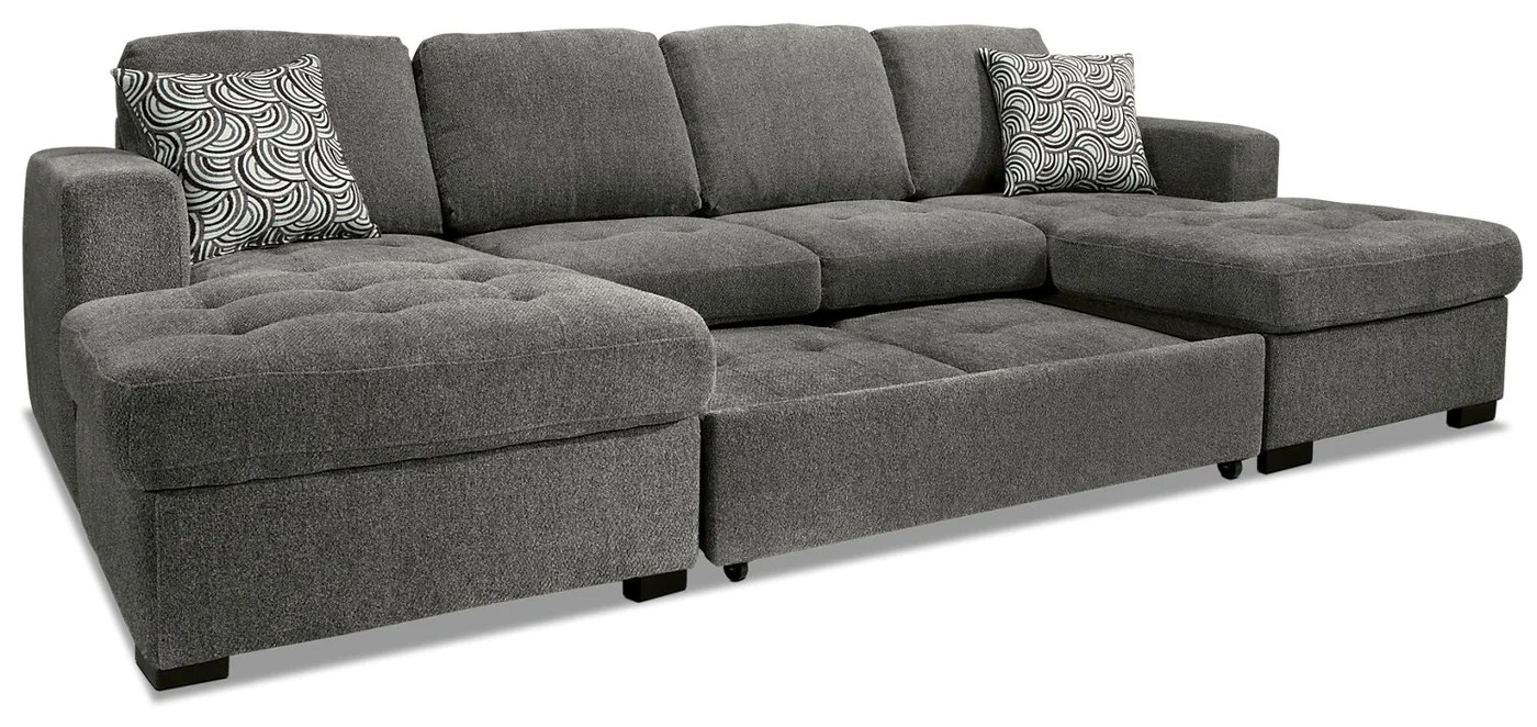 Brick Meubles Divan Lit Izzy 3 Piece Chenille Sofa Bed Sectional With Two Chaises Pewter
