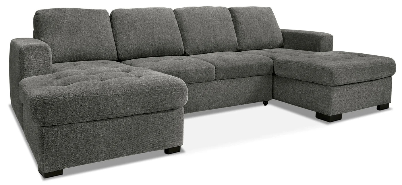 Izzy 3 Piece Chenille Sofa Bed Sectional With Two Chaises Pewter The Brick
