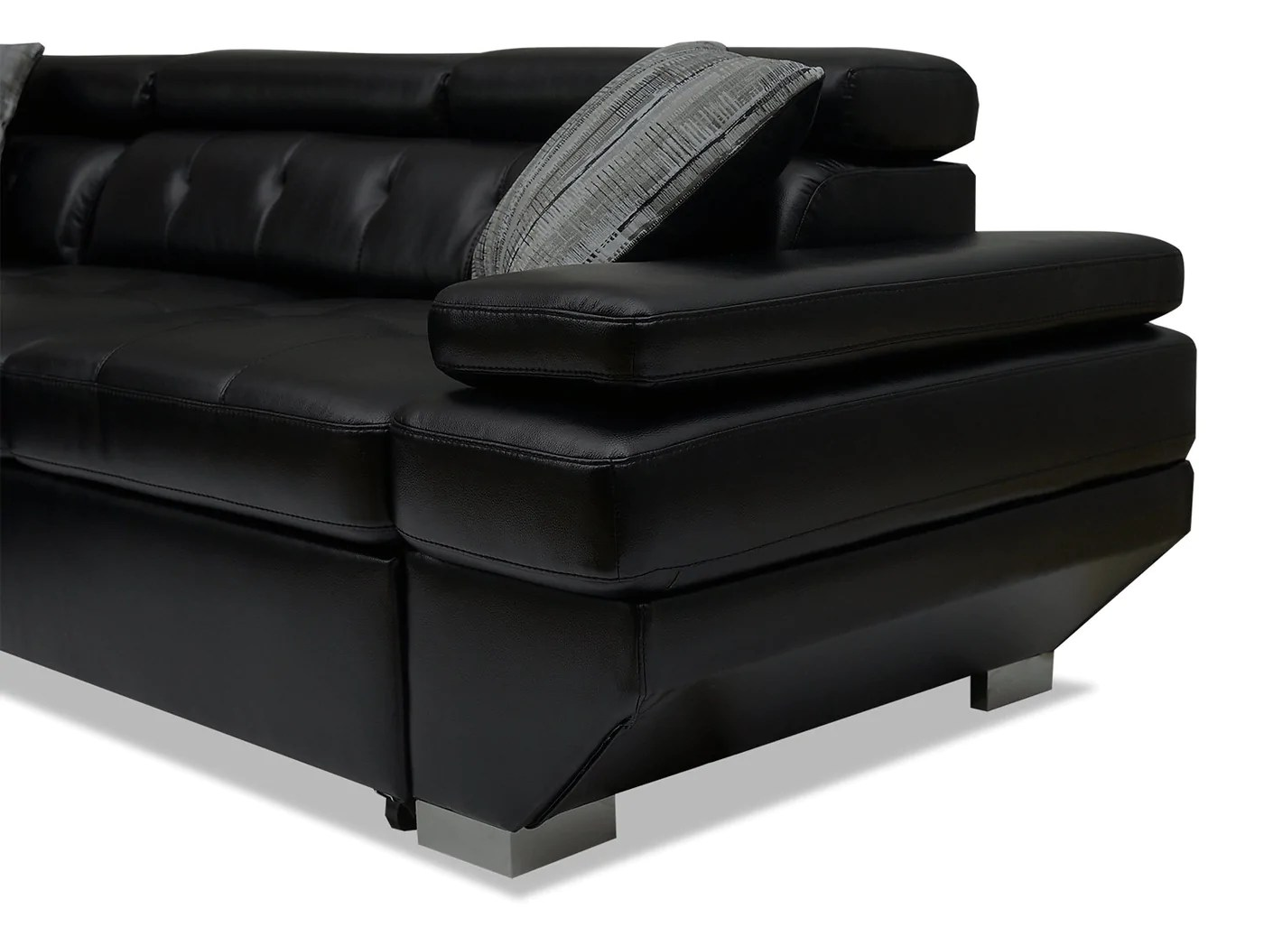 Whirlpool Outdoor Otto Otto 2 Piece Leather Look Fabric Left Facing Sleeper Sectional Black