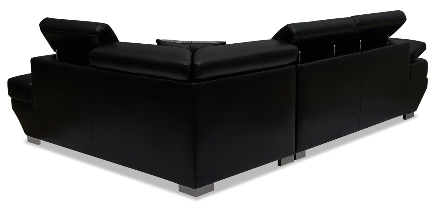 Whirlpool Outdoor Otto Otto 2 Piece Leather Look Fabric Right Facing Sleeper Sectional Black