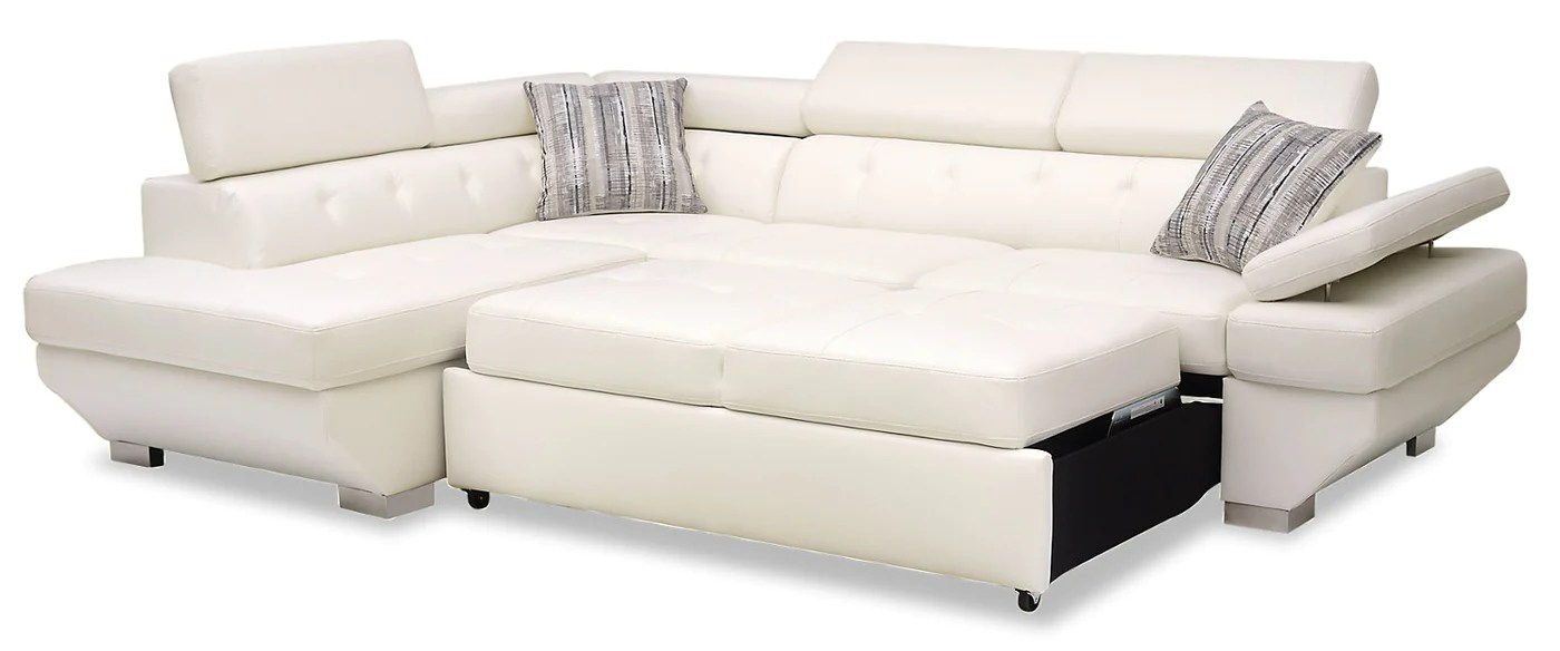 Whirlpool Outdoor Otto Otto 2 Piece Leather Look Fabric Left Facing Sleeper Sectional Snow