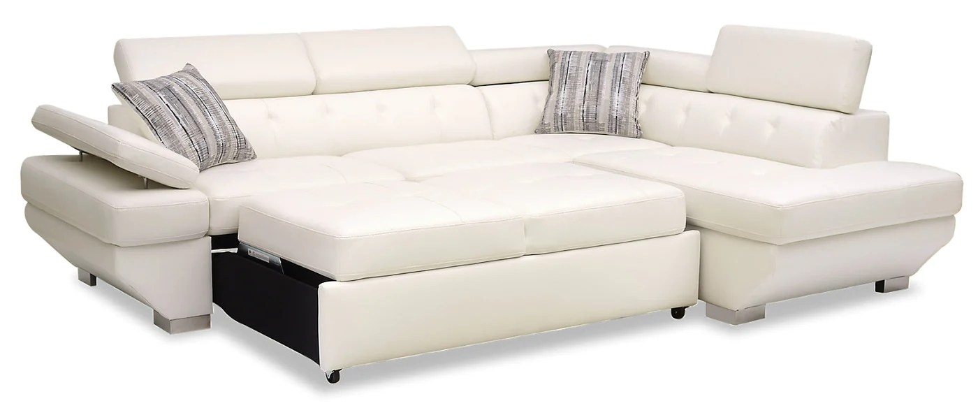 Whirlpool Outdoor Otto Otto 2 Piece Leather Look Fabric Right Facing Sleeper Sectional Snow