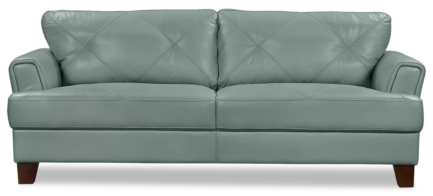 Vita 100 Genuine Leather Sofa Sea Foam The Brick